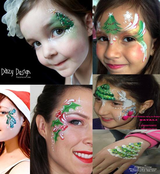 макияж аквагрим для елочки