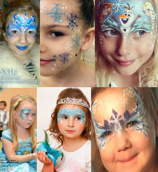 идеи аквагрима или макияжа снежинки