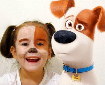 Костюм собаки Макс для девочки грим и прическа