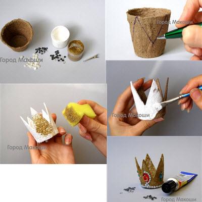 Корона для девочки сделанная своими руками быстро из картонного рулона или торфяного горшочка в домашних условиях