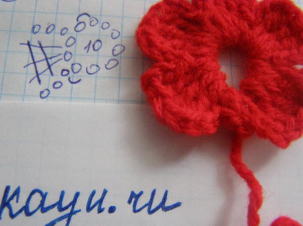 Схема цветка связанного крючком с фото и подробное описание
