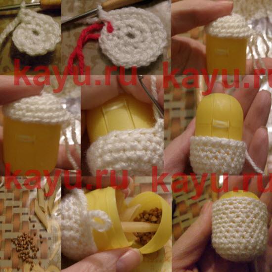Пошаговое фото по обвязыванию киндера и вязанию игрушки крючком