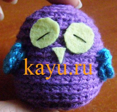 Сова амигуруми крючком  готовая игрушка маленькая 6 см фото