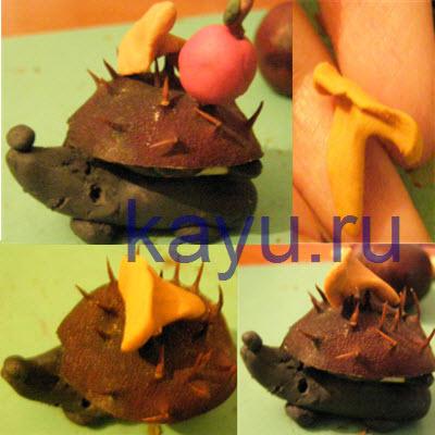 Поделка из каштанов и пластилина на тему осень, сделанная своими руками